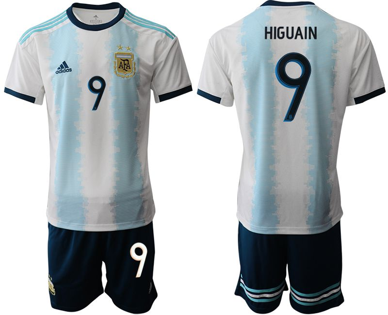 Men 2019-2020 Season National Team Argentina home 9 blue Soccer Jerseys