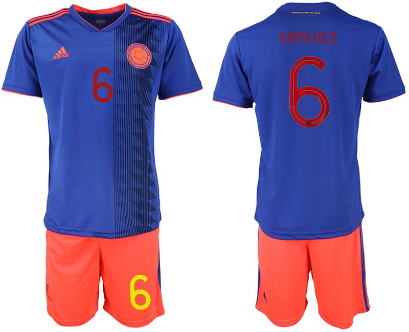Men 2019-2020 Season National Team Colombia away 6 blue Soccer Jerseys