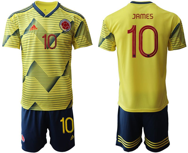 Men 2019-2020 Season National Team Colombia home 10 yellow Soccer Jerseys