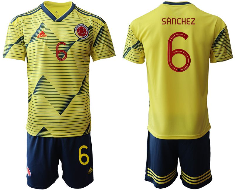 Men 2019-2020 Season National Team Colombia home 6 yellow Soccer Jerseys