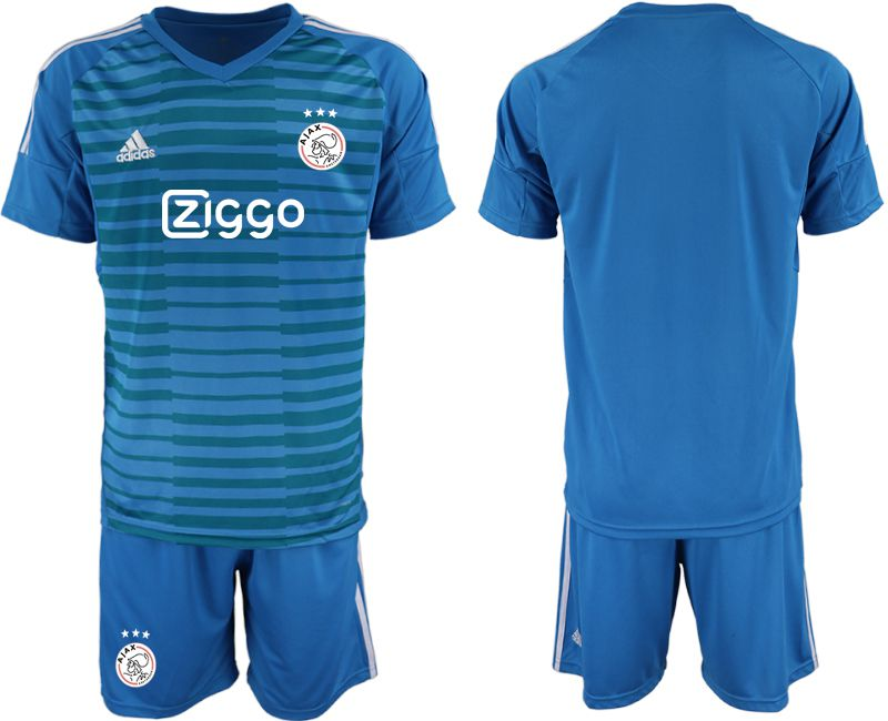 Men 2019-2020 club Ajax Lake blue goalkeeper Soccer Jerseys
