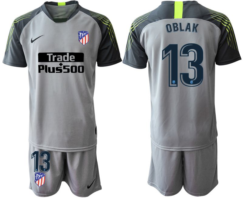 Men 2019-2020 club Atletico Madrid gray goalkeeper 13 Soccer Jerseys