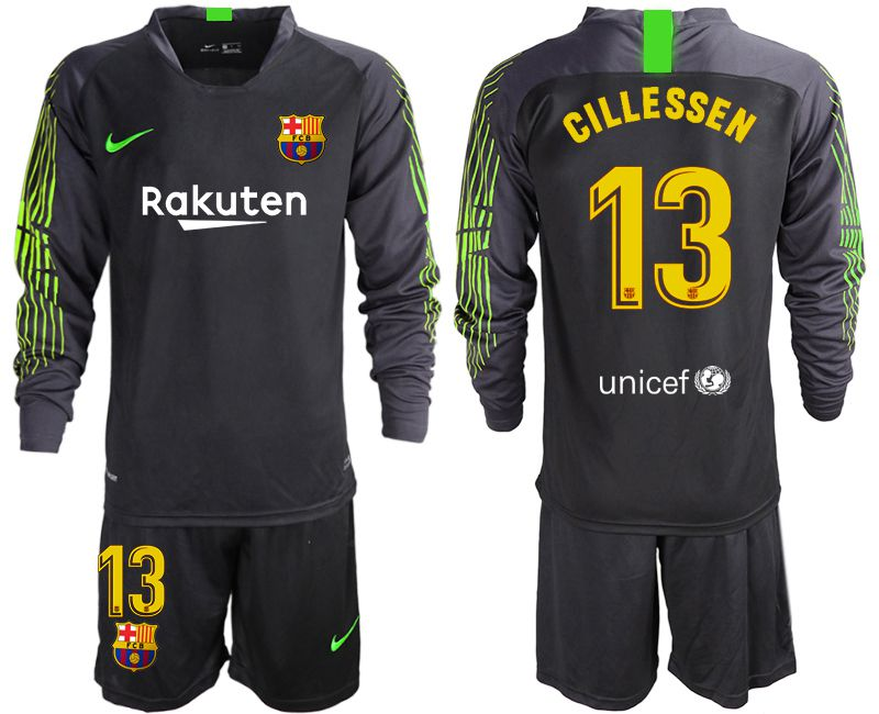 Men 2019-2020 club Barcelona black long sleeve goalkeeper 13 Soccer Jerseys