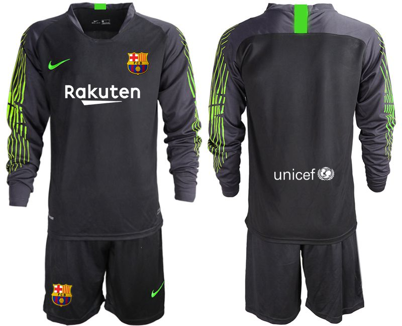 Men 2019-2020 club Barcelona black long sleeve goalkeeper Soccer Jerseys