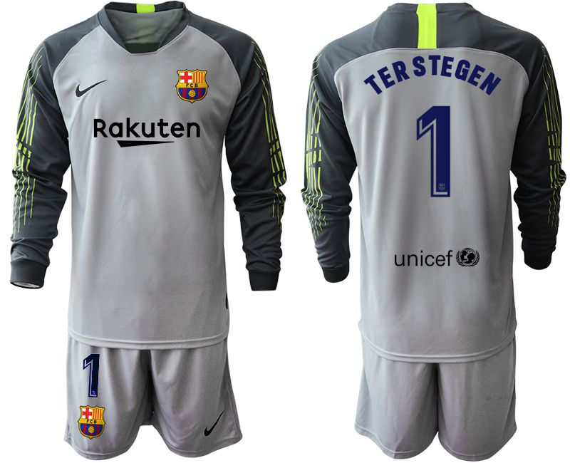 Men 2019-2020 club Barcelona gray long sleeve goalkeeper 1 Soccer Jerseys