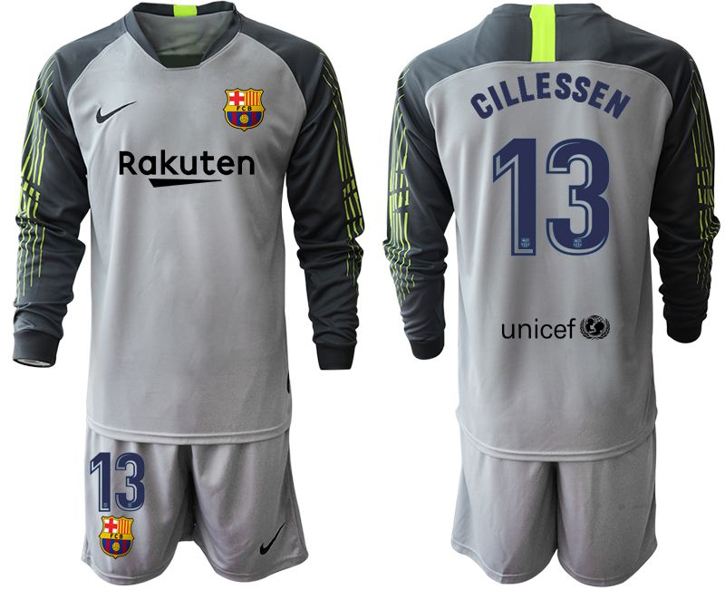 Men 2019-2020 club Barcelona gray long sleeve goalkeeper 13 Soccer Jerseys