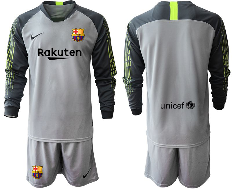 Men 2019-2020 club Barcelona gray long sleeve goalkeeper Soccer Jerseys