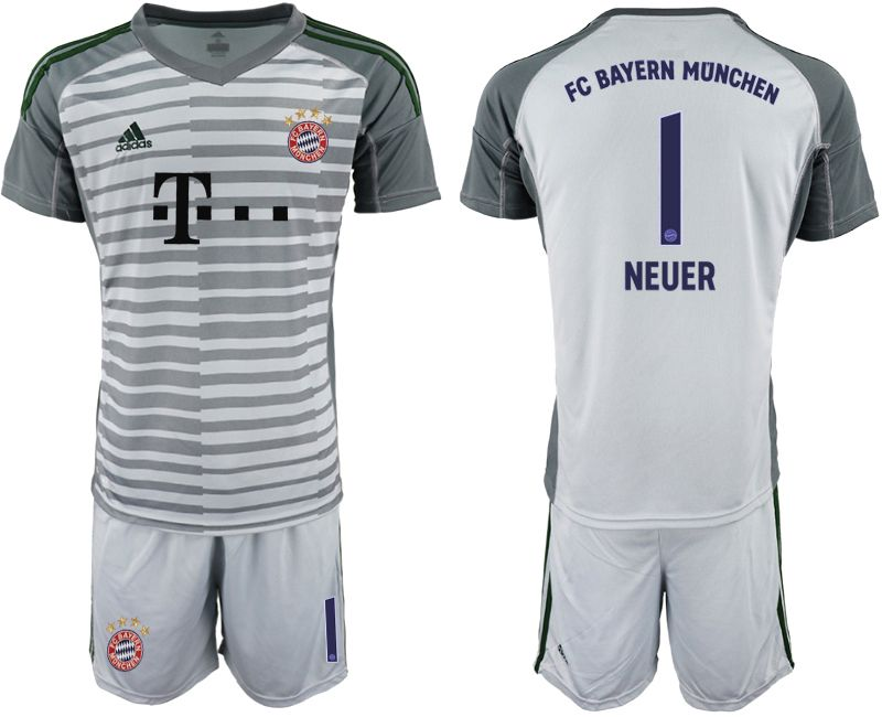 Men 2019-2020 club Bayern Munich gray goalkeeper 1 Soccer Jerseys