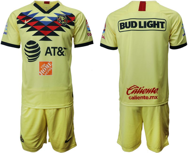 Men 2019-2020 club Club America home yellow Soccer Jerseys