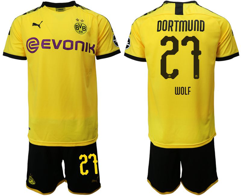 Men 2019-2020 club Dortmund home 27 yellow Soccer Jerseys