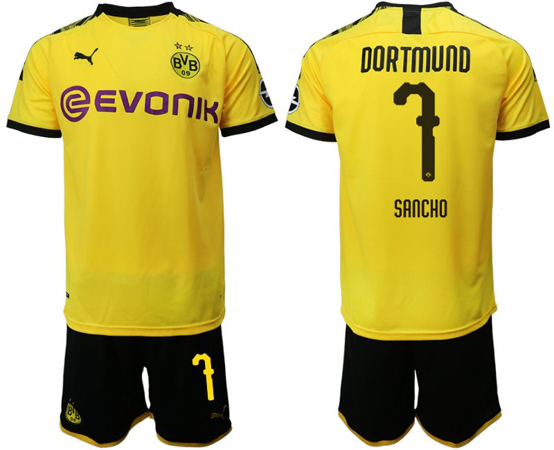 Men 2019-2020 club Dortmund home 7 yellow Soccer Jerseys(2)