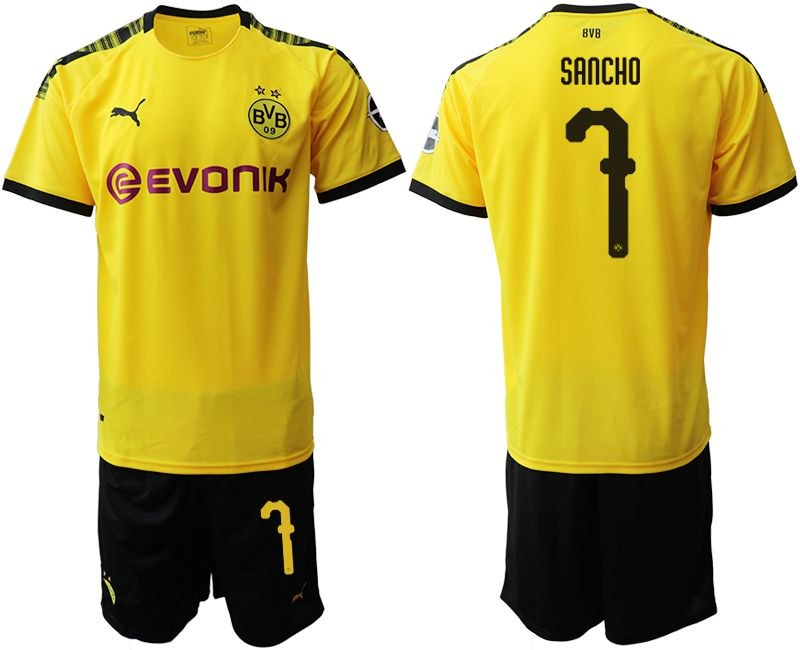 Men 2019-2020 club Dortmund home 7 yellow Soccer Jerseys