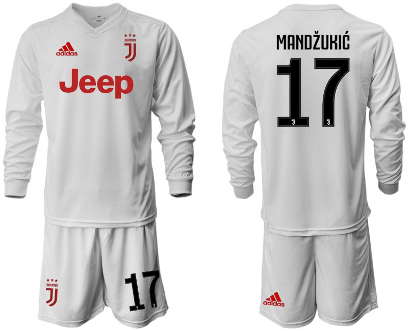 Men 2019-2020 club Juventus away white long sleeve 17 Soccer Jerseys