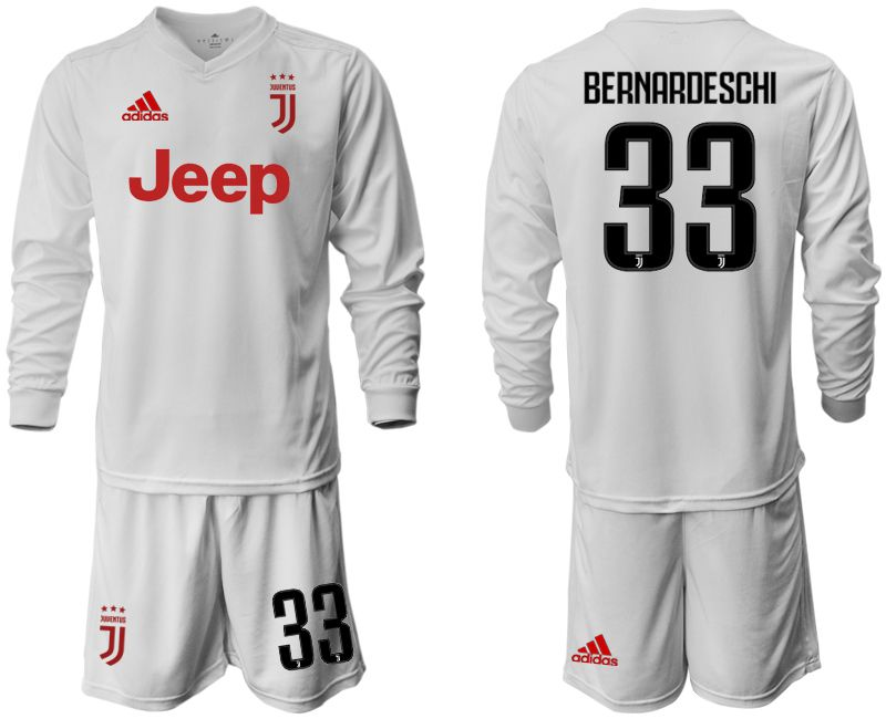 Men 2019-2020 club Juventus away white long sleeve 33 Soccer Jerseys