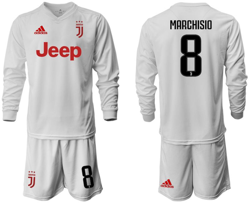 Men 2019-2020 club Juventus away white long sleeve 8 Soccer Jerseys