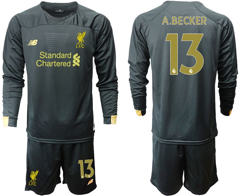 Men 2019-2020 club Liverpool black long sleeve goalkeeper 13 Soccer Jerseys