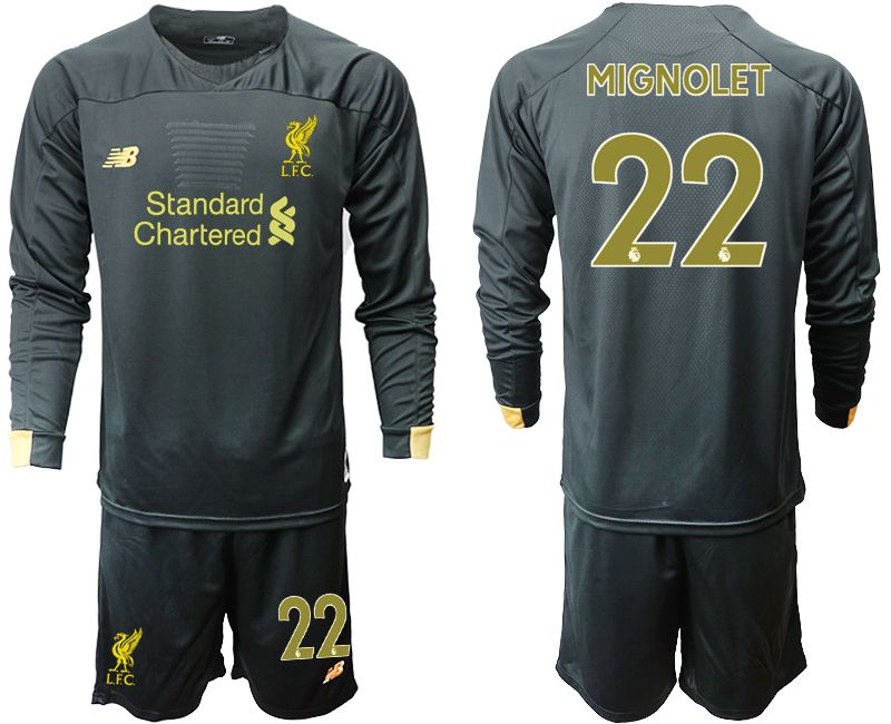 Men 2019-2020 club Liverpool black long sleeve goalkeeper 22 Soccer Jerseys