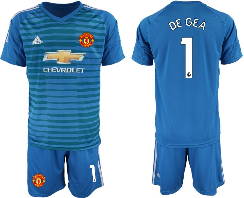 Men 2019-2020 club Manchester United blue goalkeeper 1 Soccer Jerseys