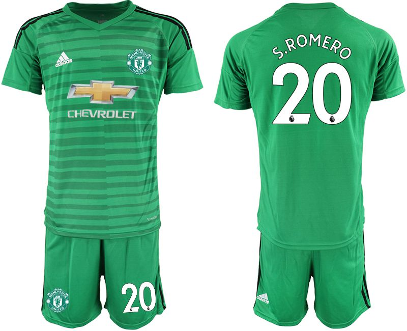 Men 2019-2020 club Manchester United green goalkeeper 20 Soccer Jerseys
