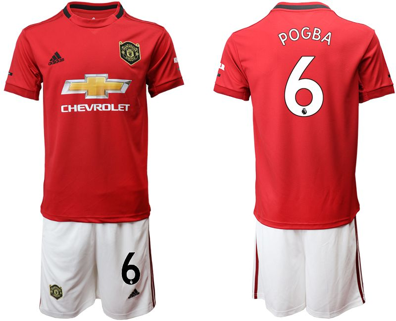 Men 2019-2020 club Manchester United home 6 red Soccer Jerseys