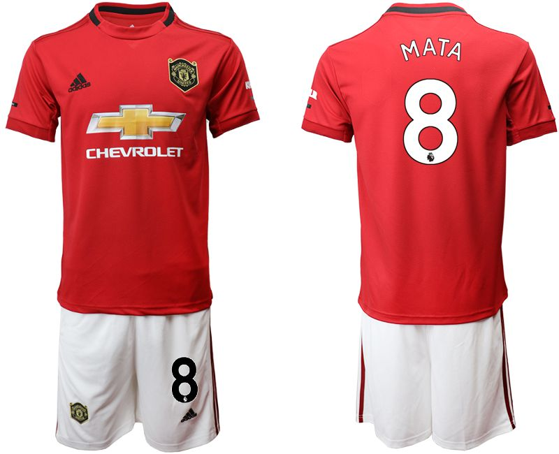 Men 2019-2020 club Manchester United home 8 red Soccer Jerseys