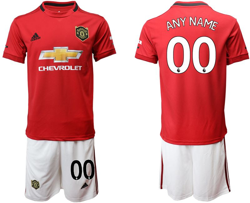 Men 2019-2020 club Manchester United home customized red Soccer Jerseys