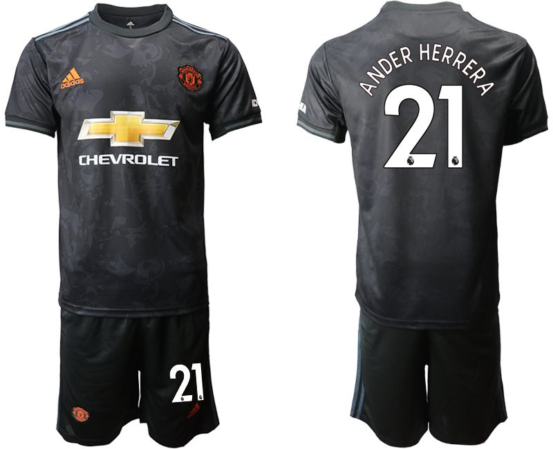 Men 2019-2020 club Manchester united away 21 black Soccer Jerseys
