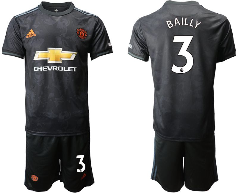 Men 2019-2020 club Manchester united away 3 black Soccer Jerseys