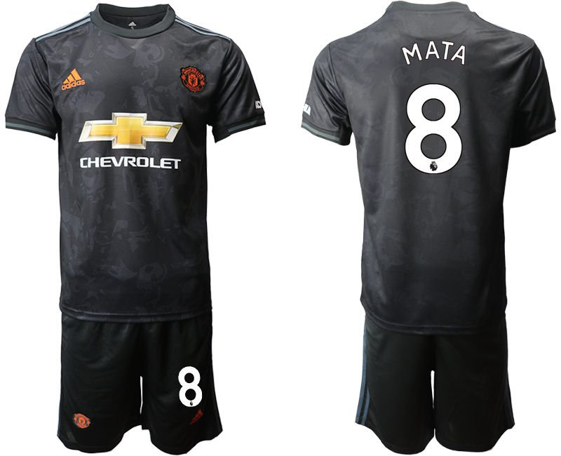 Men 2019-2020 club Manchester united away 8 black Soccer Jerseys