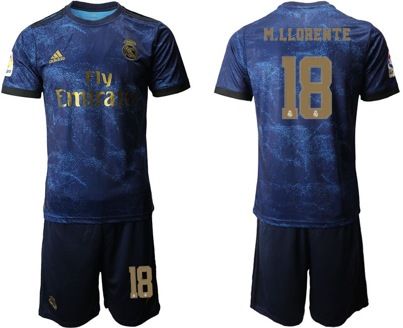 Men 2019-2020 club Real Madrid away 18 blue Soccer Jerseys