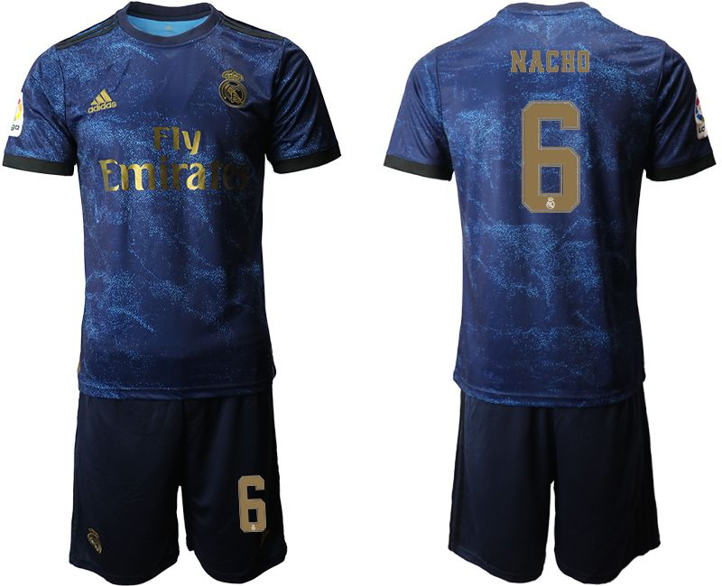 Men 2019-2020 club Real Madrid away 6 blue Soccer Jerseys