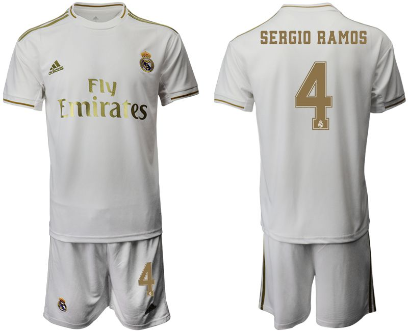 Men 2019-2020 club Real Madrid home 4 white Soccer Jerseys