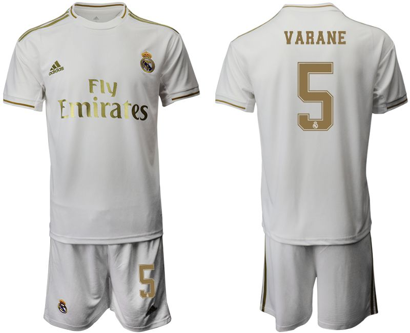 Men 2019-2020 club Real Madrid home 5 white Soccer Jerseys