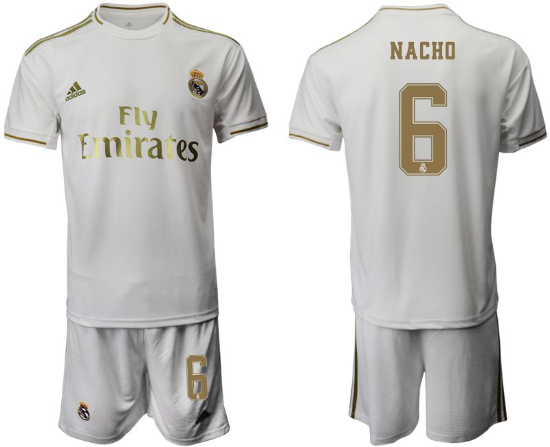Men 2019-2020 club Real Madrid home 6 white Soccer Jerseys