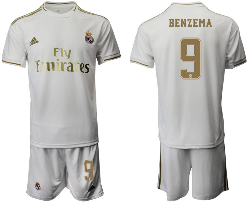 Men 2019-2020 club Real Madrid home 9 white Soccer Jerseys