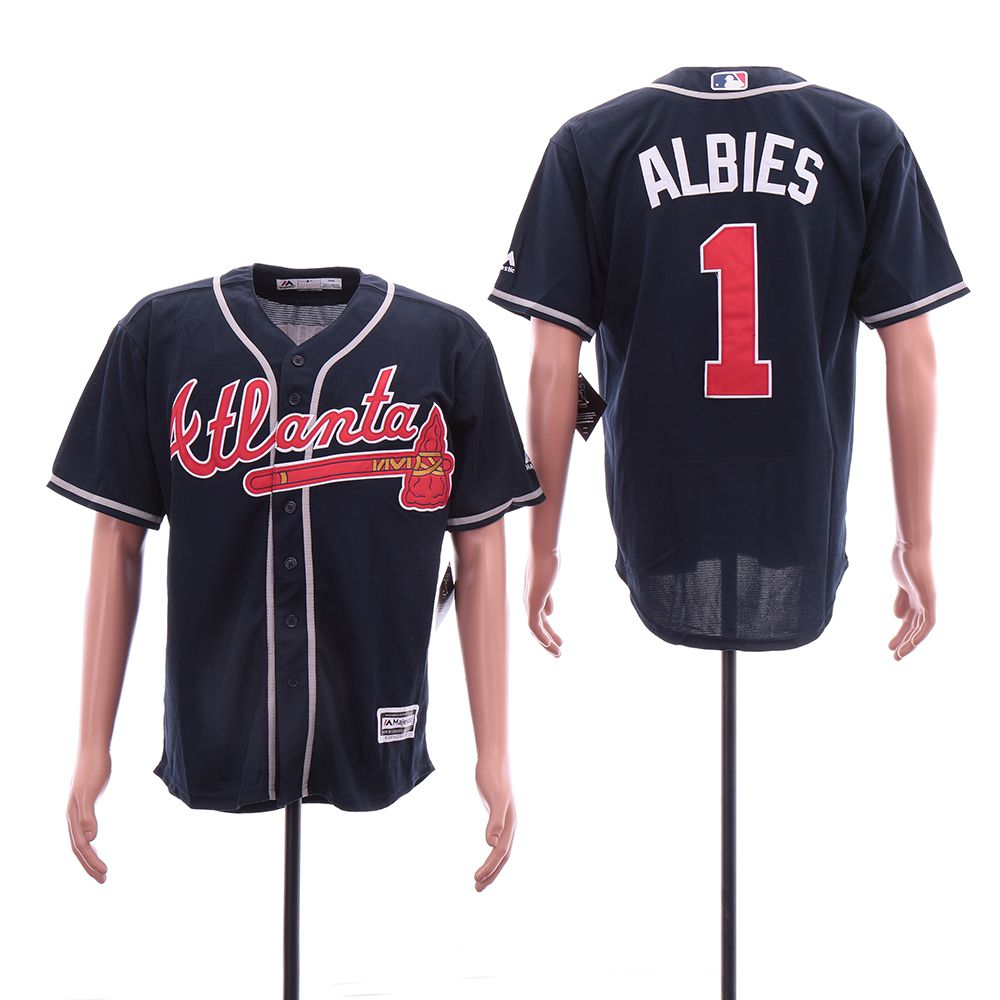 Men Atlanta Braves 1 Albies Blue Game MLB Jerseys