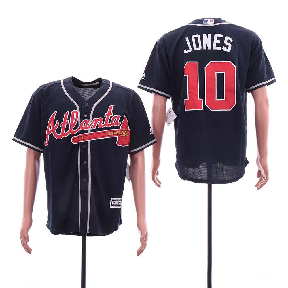 Men Atlanta Braves 10 Jones Blue Elite MLB Jerseys