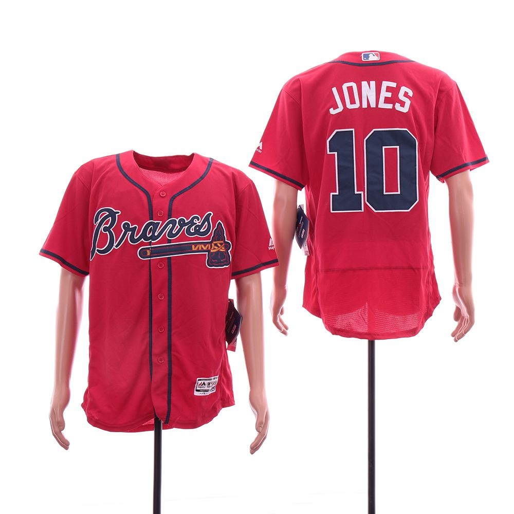 Men Atlanta Braves 10 Jones Red Elite MLB Jerseys