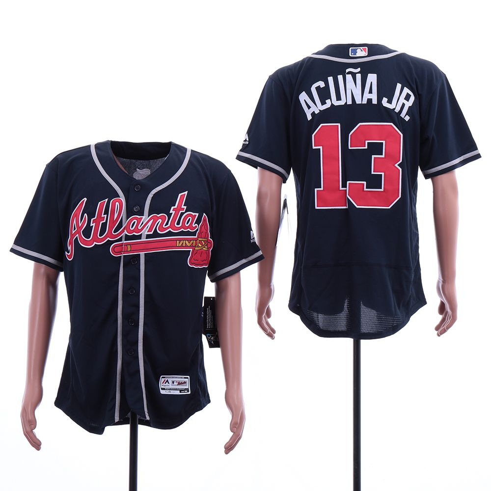 Men Atlanta Braves 13 Acuna jr Blue Elite MLB Jerseys