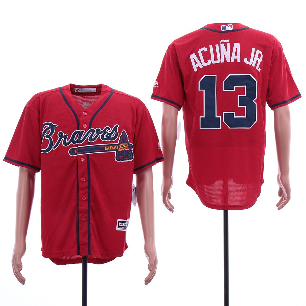 Men Atlanta Braves 13 Acuna jr Red Elite MLB Jerseys