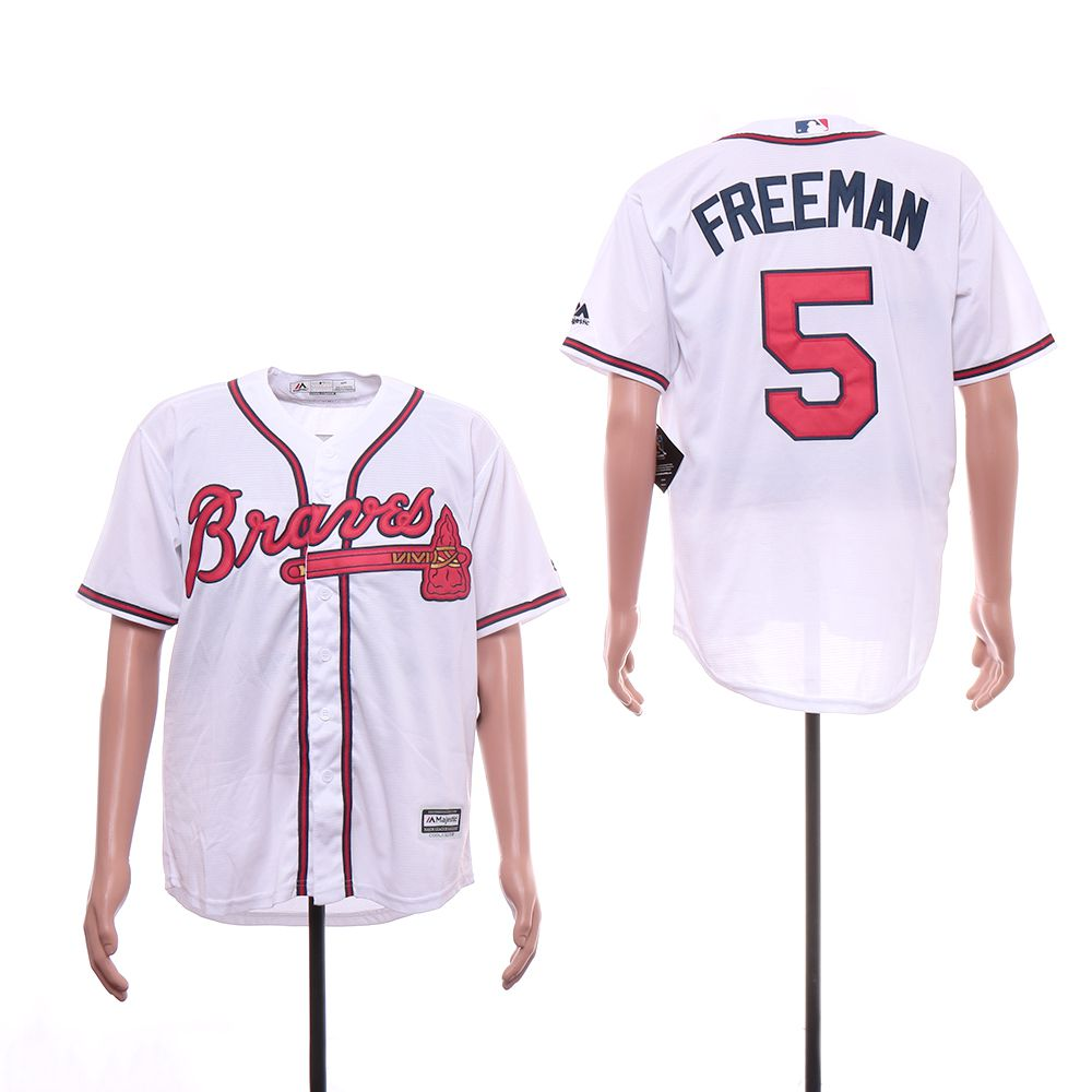 Men Atlanta Braves 5 Freeman White Game MLB Jerseys