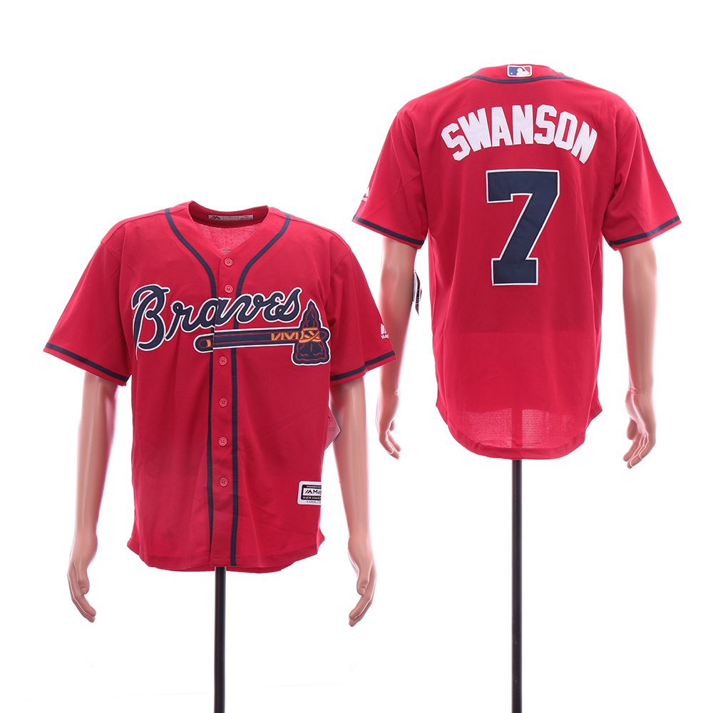 Men Atlanta Braves 7 Swanson Red Elite MLB Jerseys