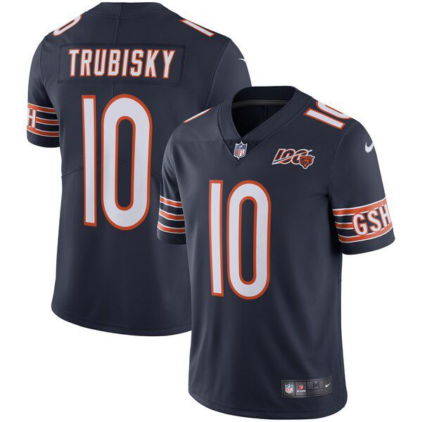 Men Chicago Bears 10 Trubisky Blue Nike 2019 100th Season Alternate Classic Retired Player Limited NFL Jerseys