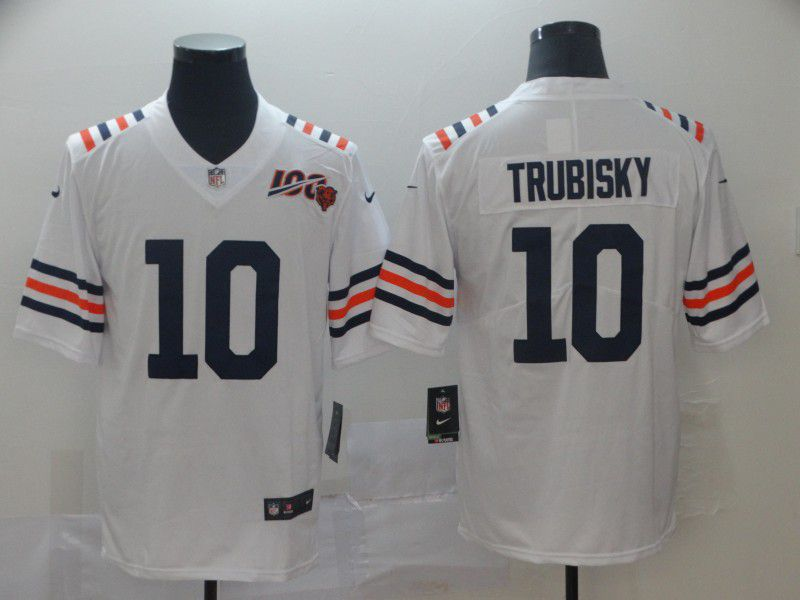 Men Chicago Bears 10 Trubisky White 100th Anniversary Nike Vapor Untouchable Player NFL Jerseys