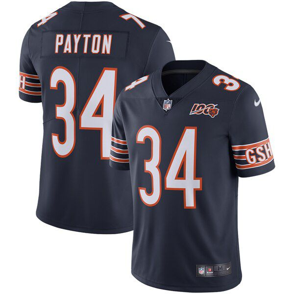Men Chicago Bears 34 Payton Blue Nike 2019 100th Season Alternate Classic Retired Player Limited NFL Jerseys
