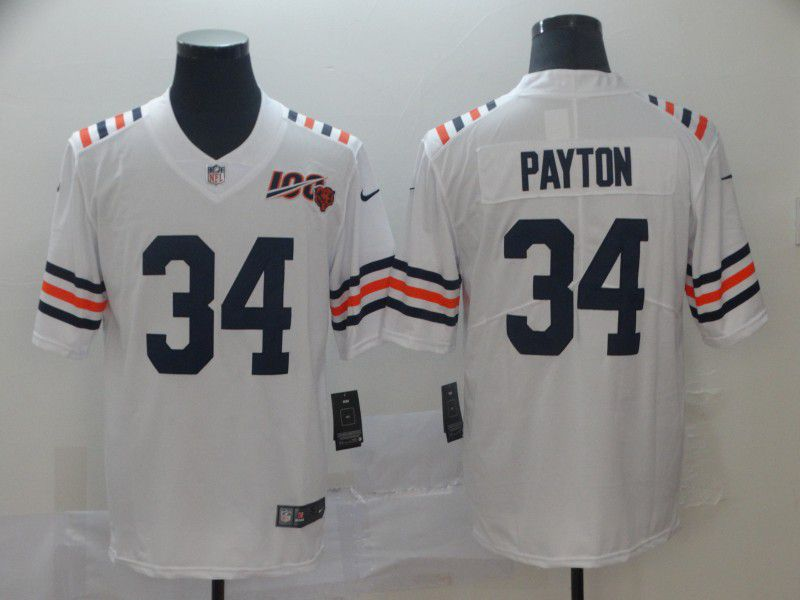Men Chicago Bears 34 Payton White 100th Anniversary Nike Vapor Untouchable Player NFL Jerseys