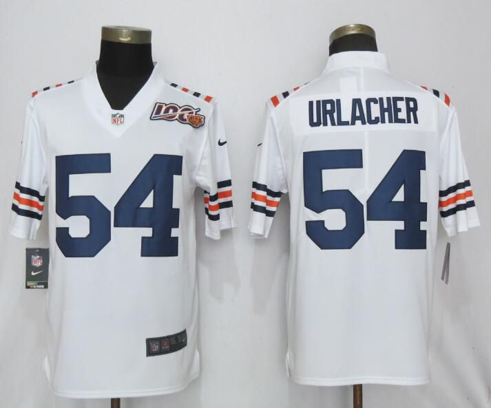 Men Chicago Bears 54 Urlacher Nike White 2019 100th Season Alternate Classic Retired Player Limited NFL Jerseys