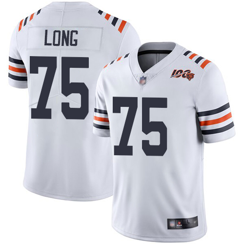 Men Chicago Bears 75 Long White 100th Anniversary Nike Vapor Untouchable Player NFL Jerseys