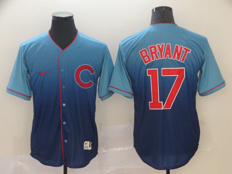 Men Chicago Cubs 17 Bryant Blue Nike Fade MLB Jersey