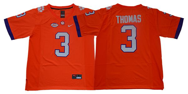 Men Clemson Tigers 3 Thomas Orange Nike NCAA Jerseys
